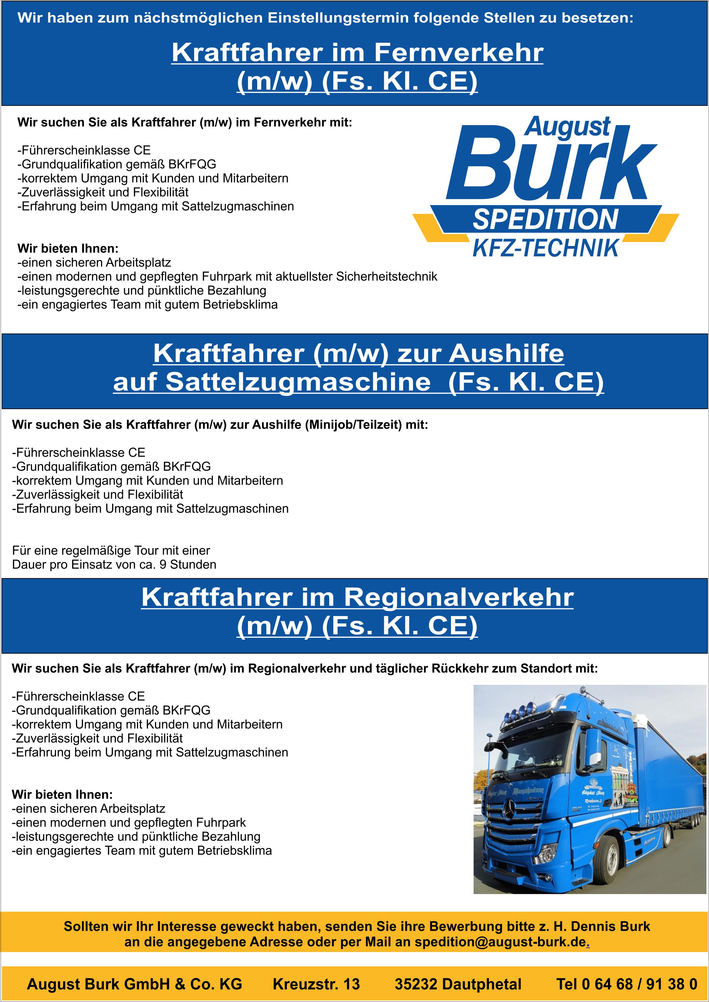 Stellenanzeige Fernverkehr Regional und Teilzeit